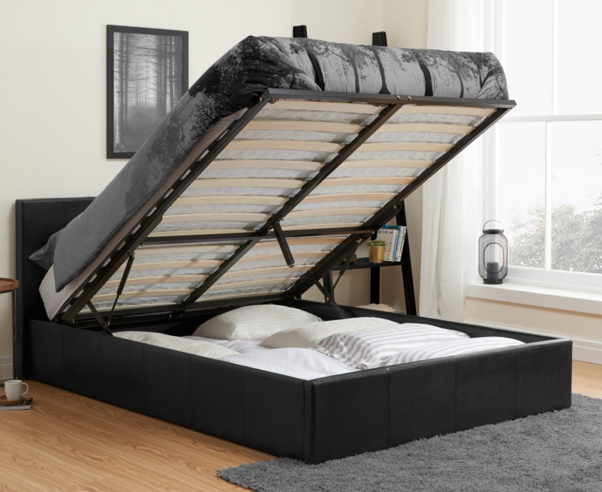 Berlin Black Leather Ottoman Storage Bed