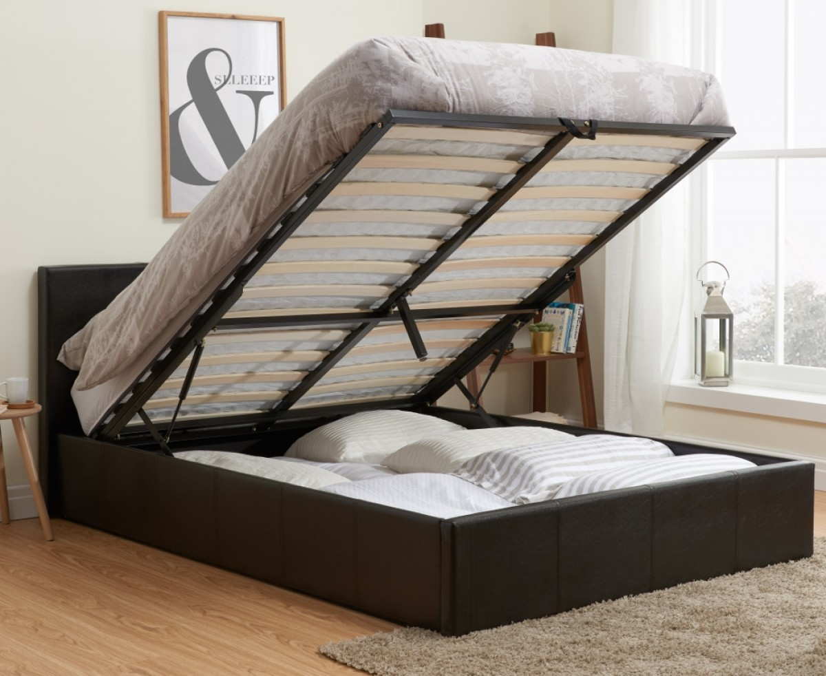 Berlin Brown Leather Ottoman Storage Bed