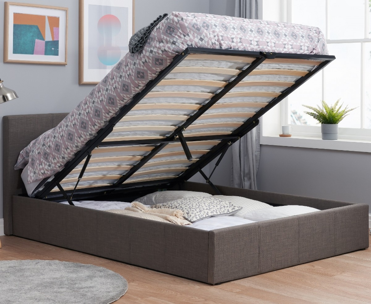 Berlin Grey Fabric Ottoman Storage Bed