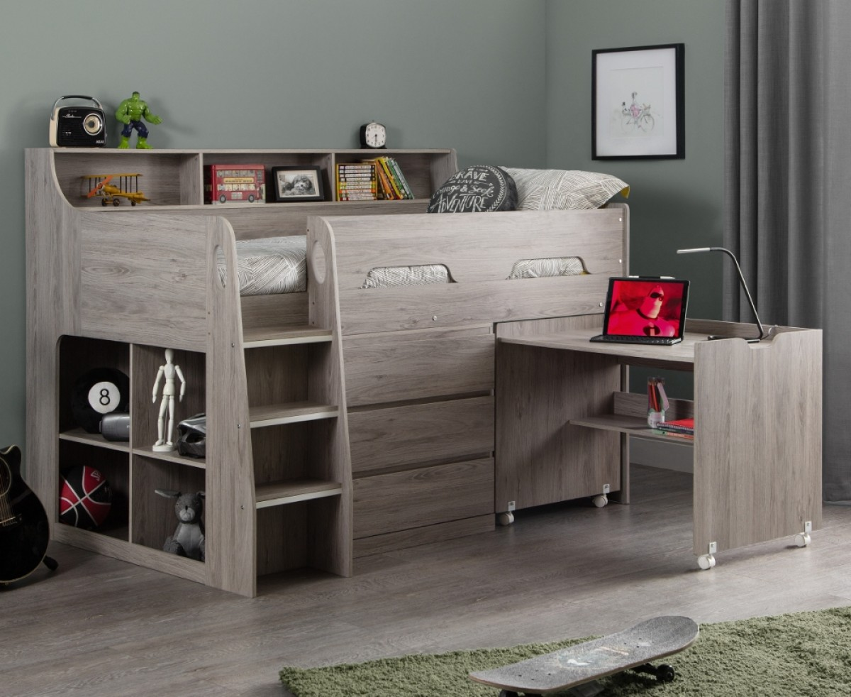 Jupiter Grey Oak Wooden Mid Sleeper Cabin Bed
