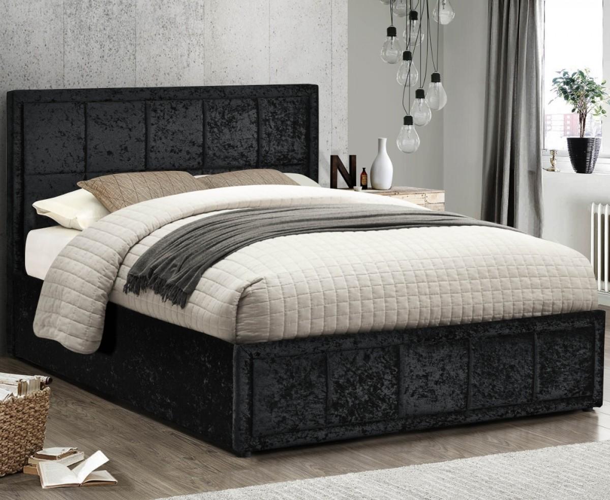 Hannover Black Velvet Fabric Bed