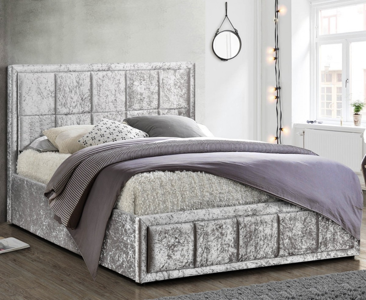 Hannover Steel Velvet Fabric Bed