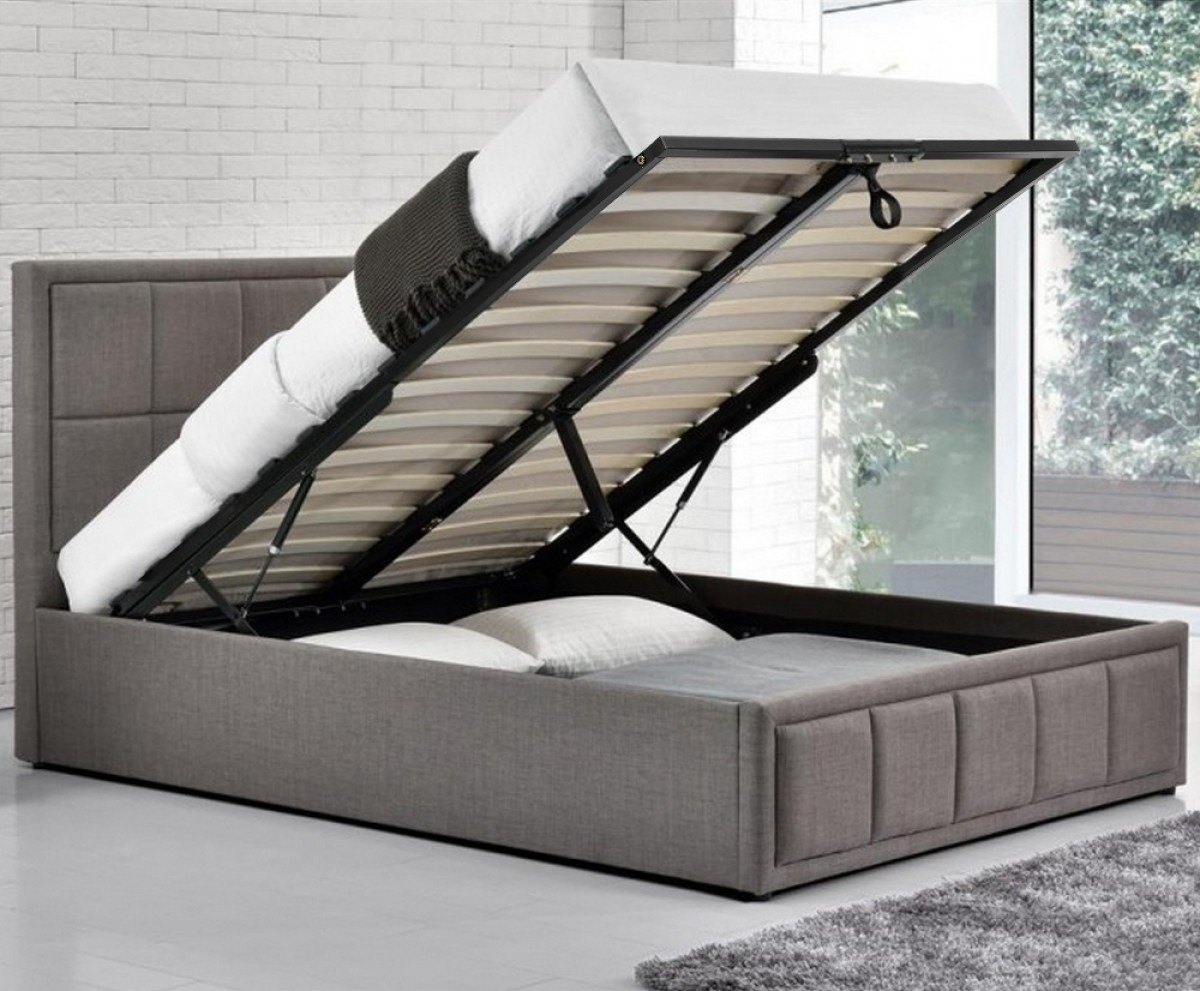 Hannover Grey Fabric Ottoman Storage Bed
