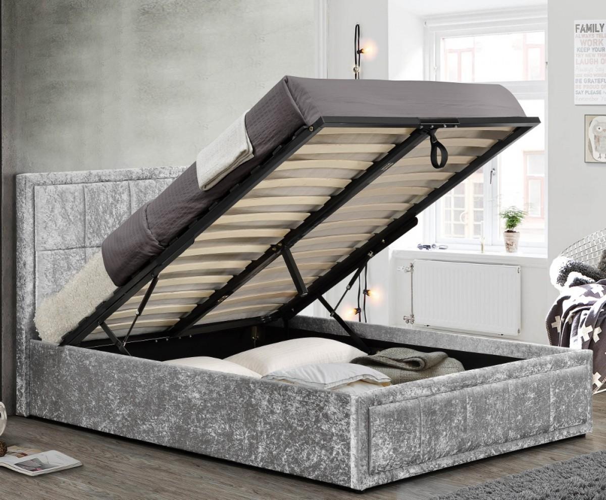 Hannover Steel Velvet Fabric Ottoman Storage Bed