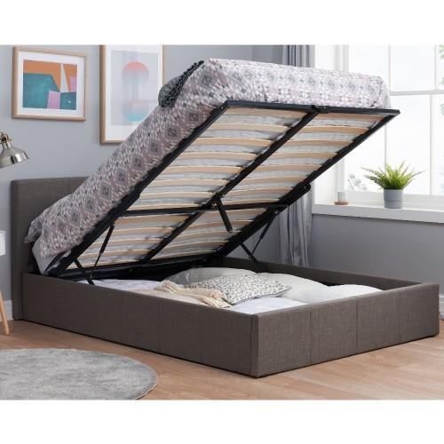 Berlin Grey Fabric Ottoman Storage Bed Frame 3ft Single