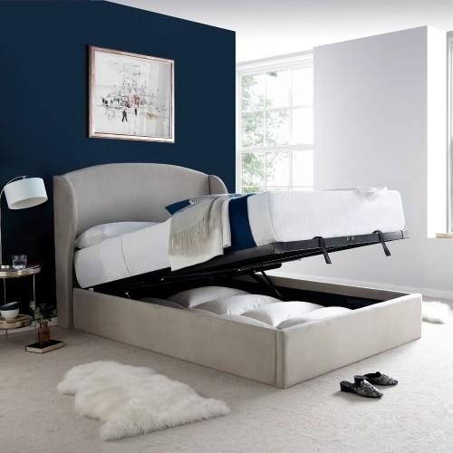 Blenheim Grey Velvet Fabric Winged Ottoman Bed