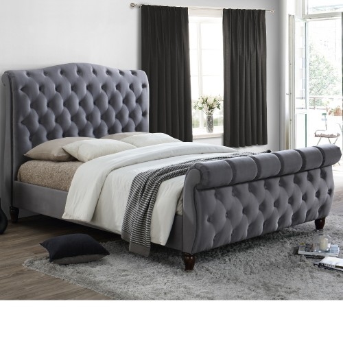 Colorado Grey Velvet Fabric Sleigh Bed Frame 5ft King Size