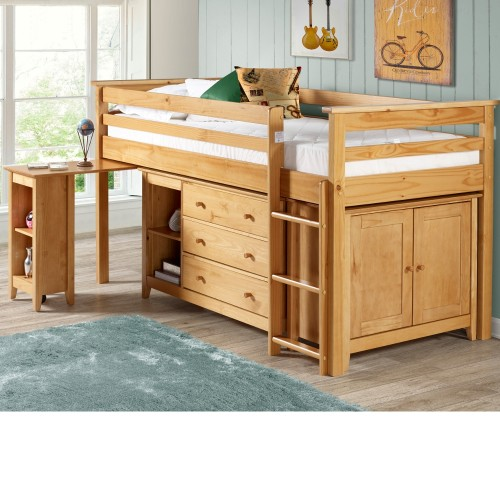 Cotswold Solid Pine Wooden Kids Mid Sleeper Sleep Station