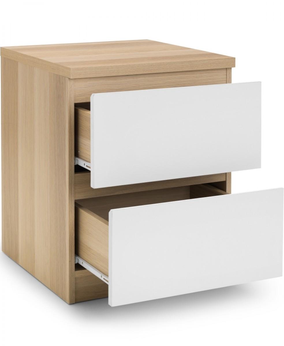 Jupiter Oak and White 2 Drawer Bedside Table