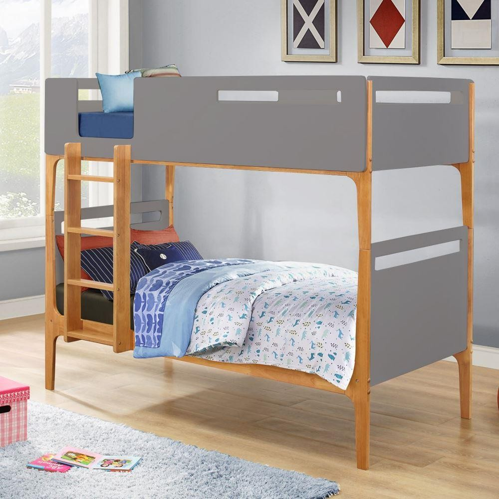 Islington Grey And Oak Wooden Bunk Bed