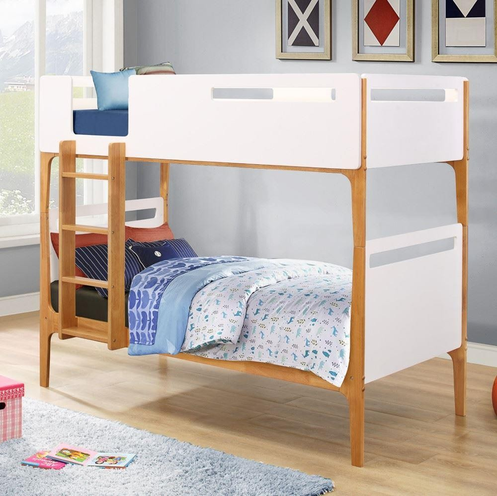 Islington White And Oak Wooden Bunk Bed