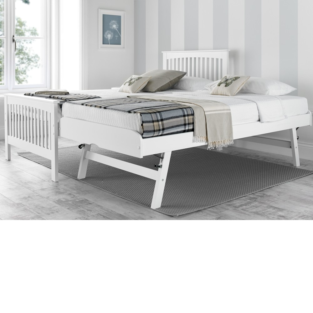 new products b516c 4f554 Toronto White Wooden Guest Bed and Trundle - 3ft Single