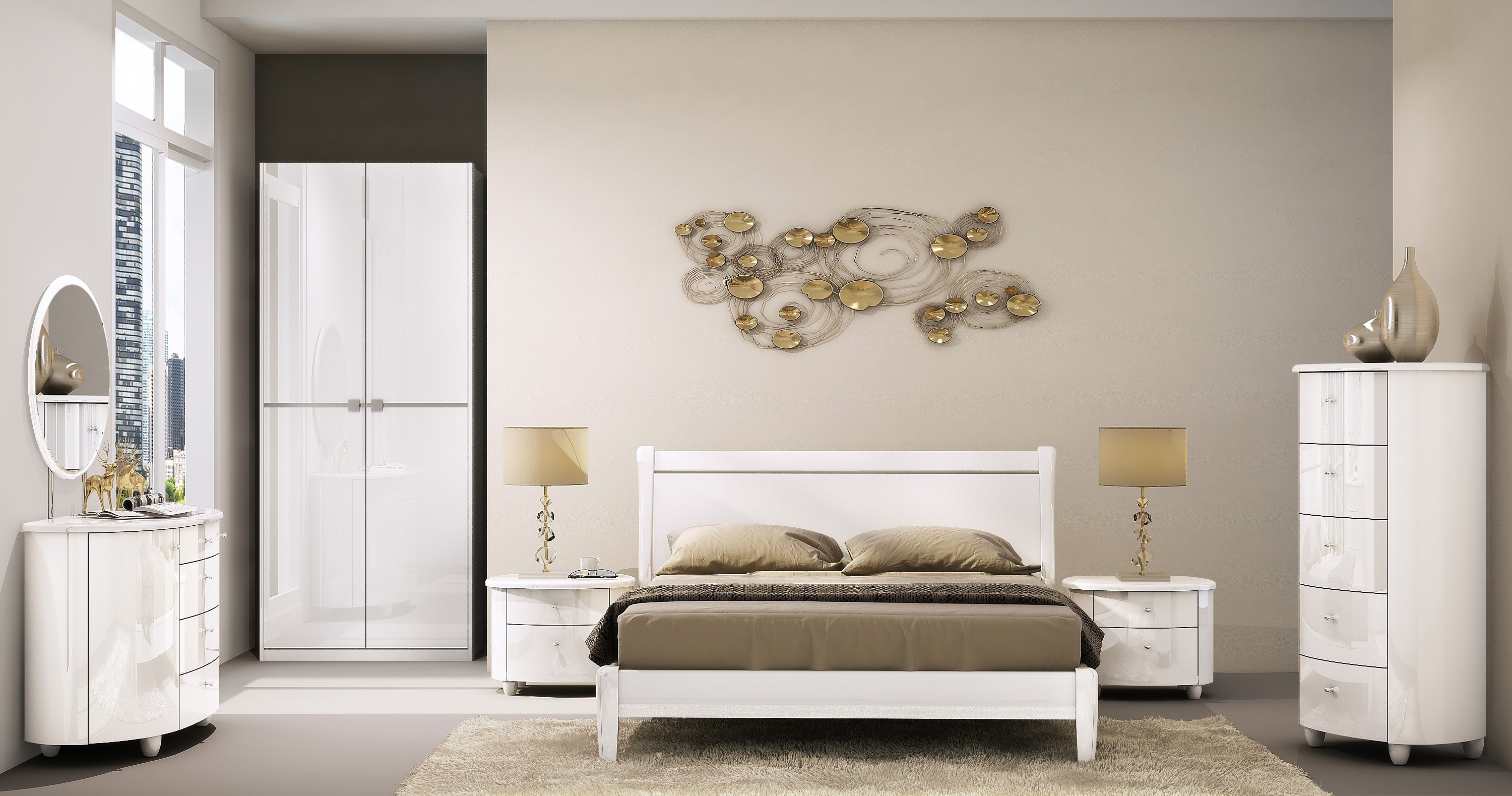 Aztec White Wooden Bedroom Furniture Collection