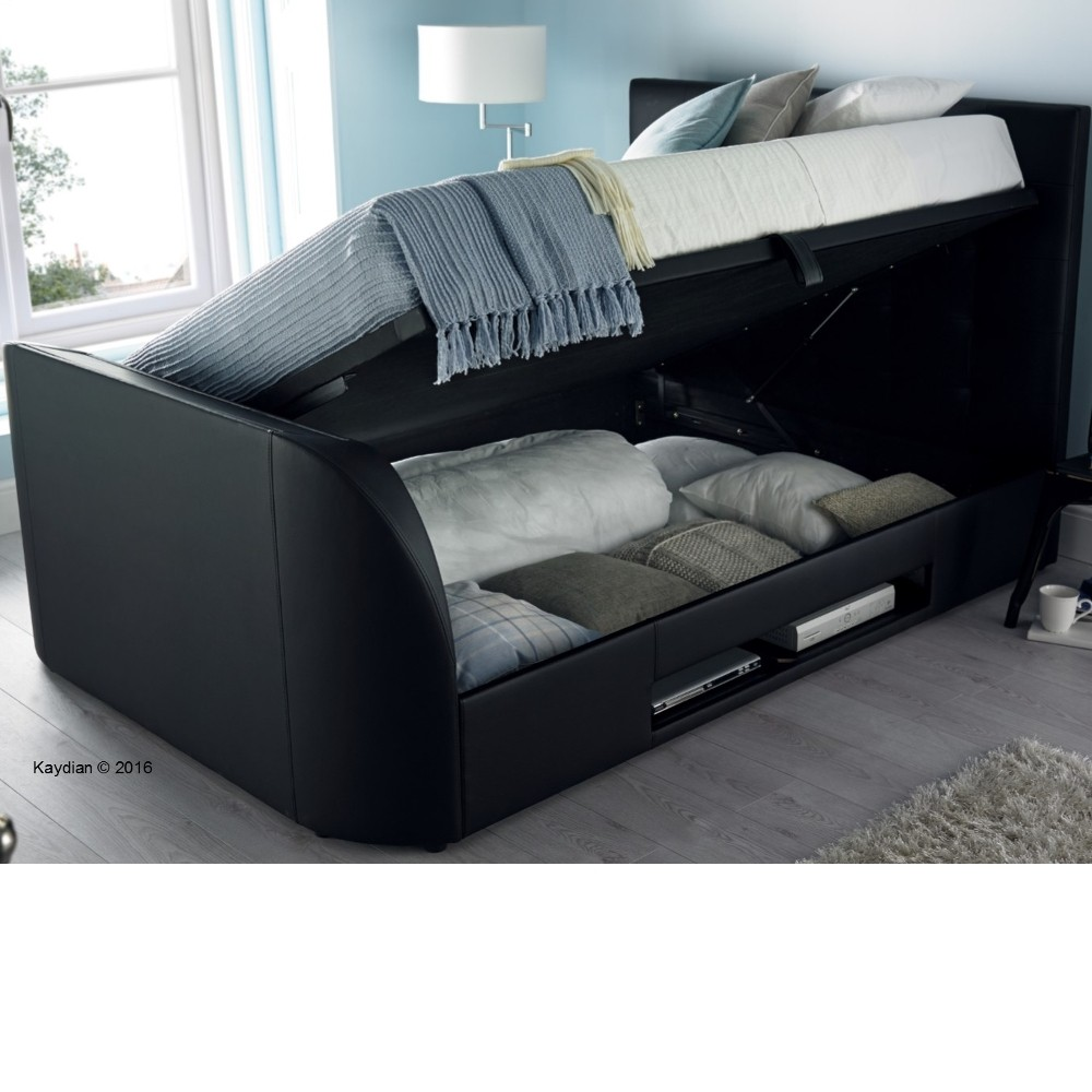 Barnard black leather tv ottoman storage bed for Storage beds uk