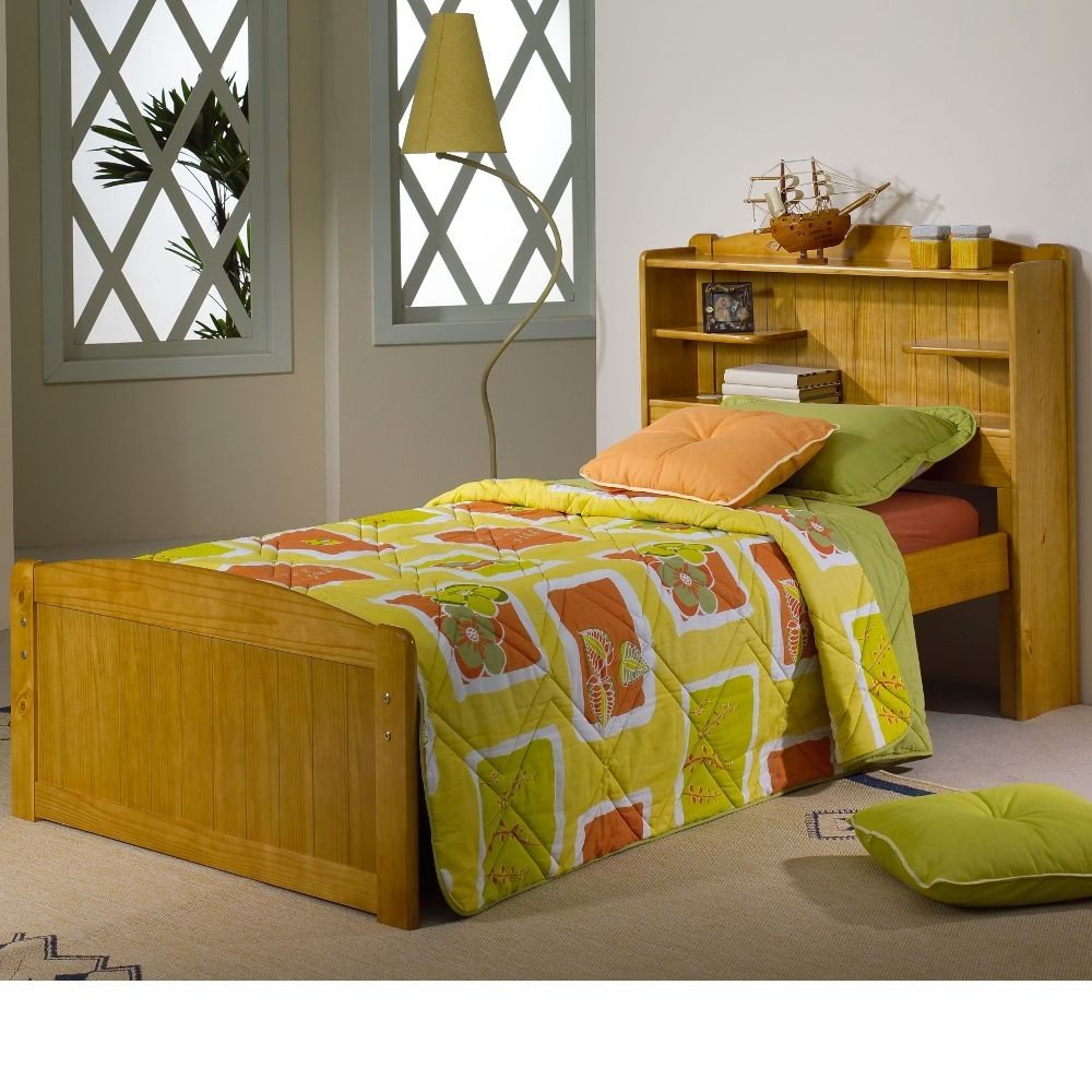 Bookcase Honey Pine Wooden Storage Bed