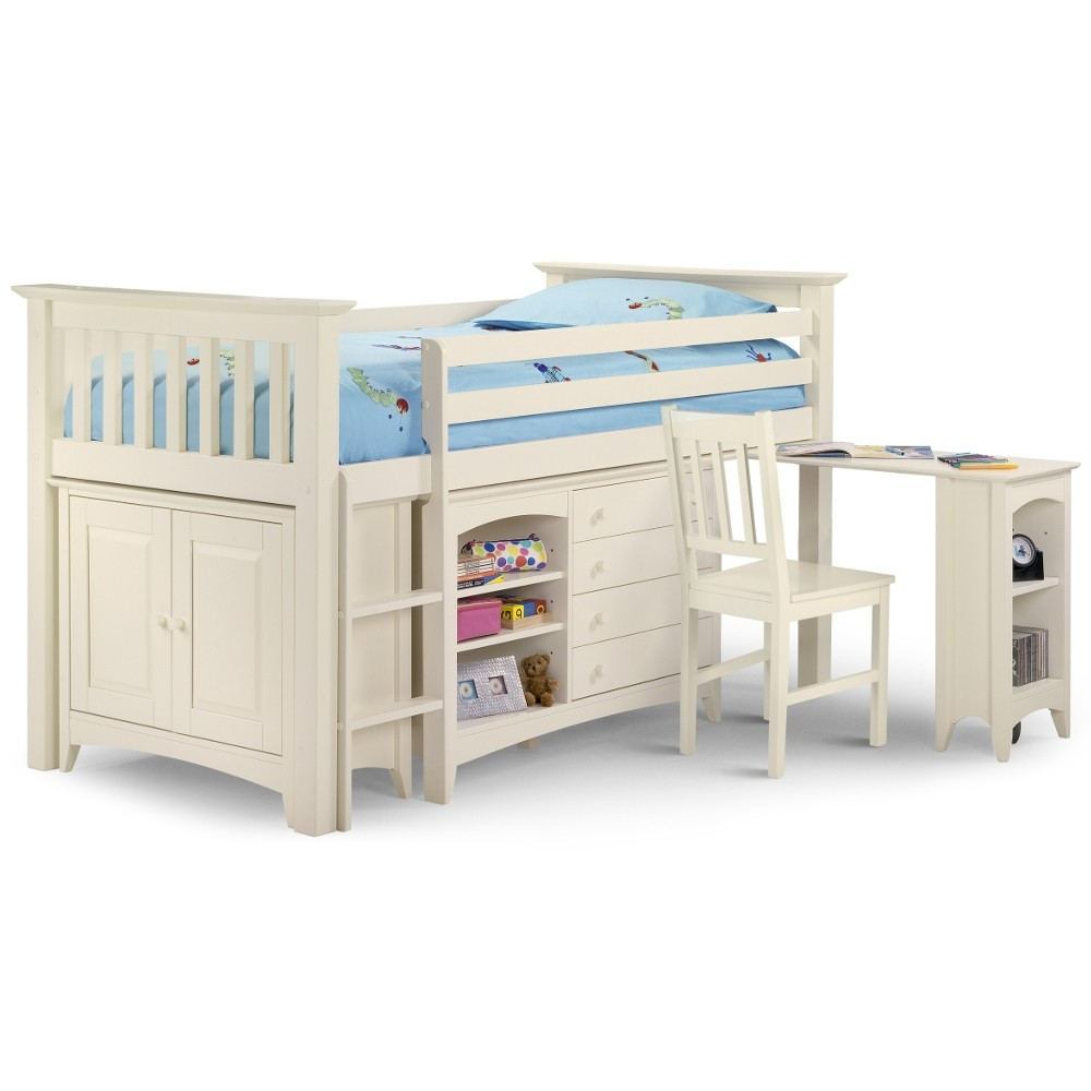 Cameo Stone White Finish Solid Pine Wooden Kids Mid