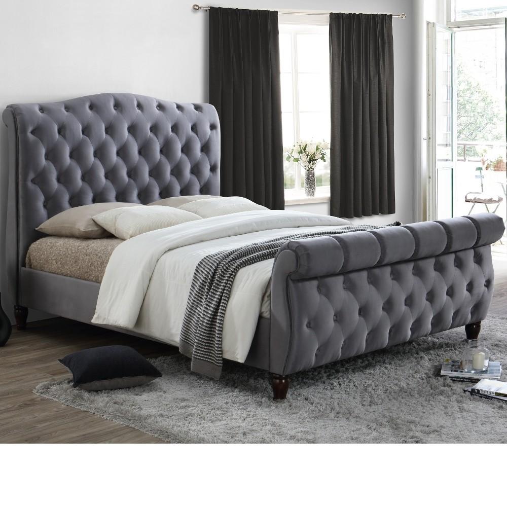 Colorado Grey Fabric Sleigh Bed
