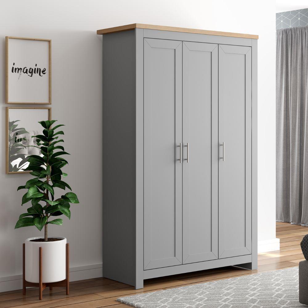 Winchester Grey And Oak 3 Door Wardrobe