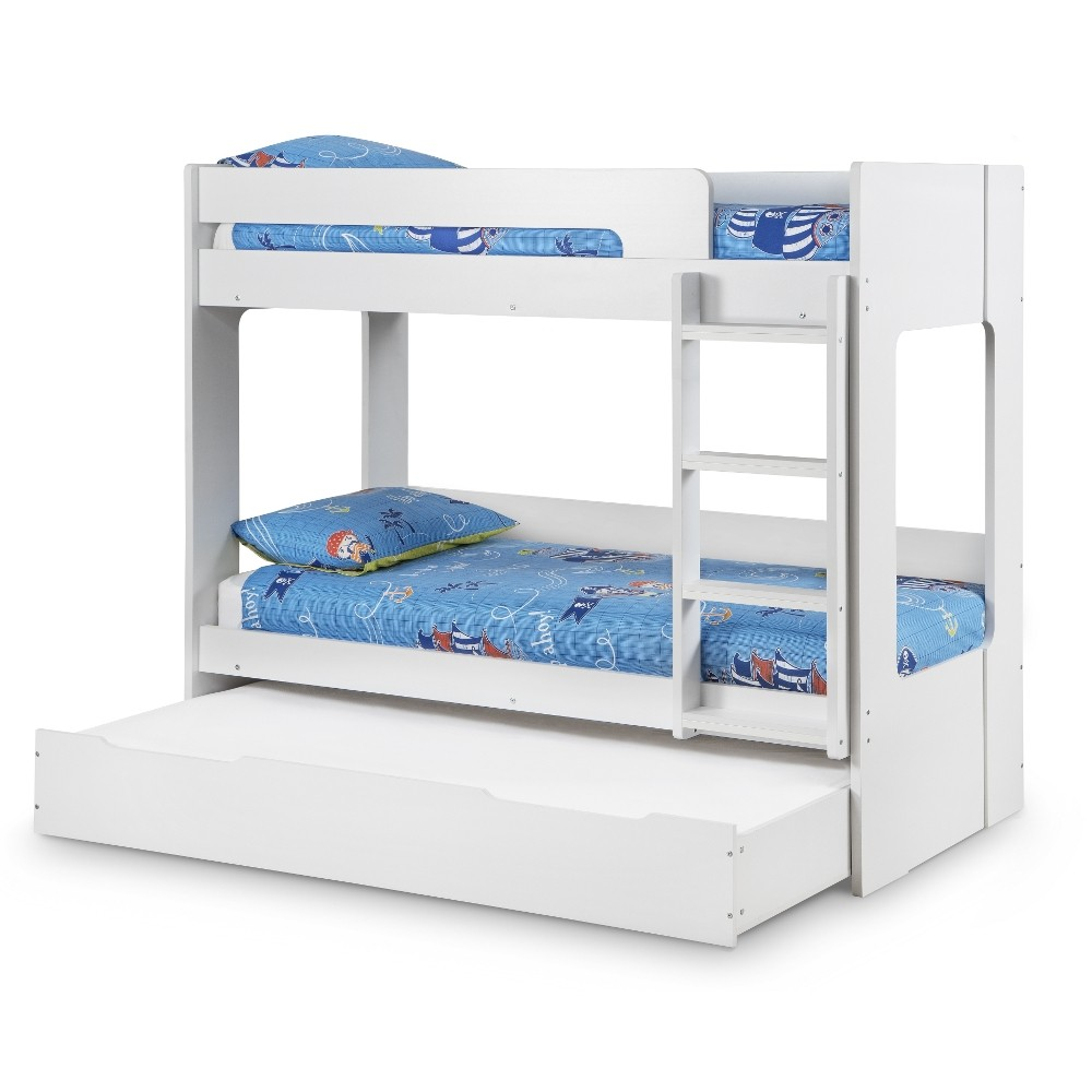Ellie white wooden bunk bed and trundle guest bed underbed storage drawer - Bunkbeds with drawers ...