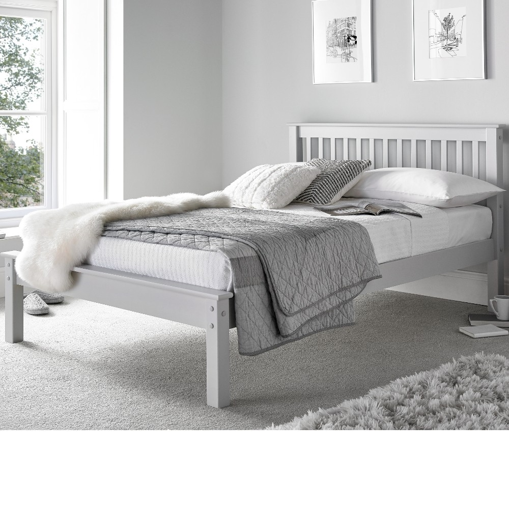 Grace Grey Wooden Low Foot End Bed Frame 4ft6 Double