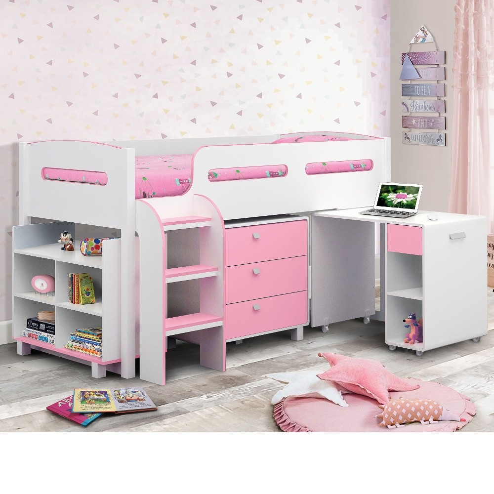 Fine Kimbo Pink And White Mid Sleeper Cabin Bed Download Free Architecture Designs Pushbritishbridgeorg