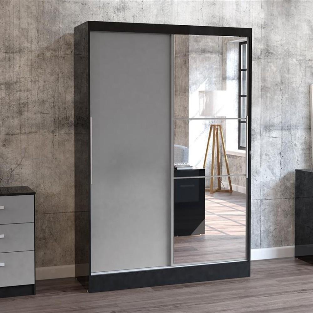 Lynx 2 Door Sliding Mirrored Wardrobe Black And Grey