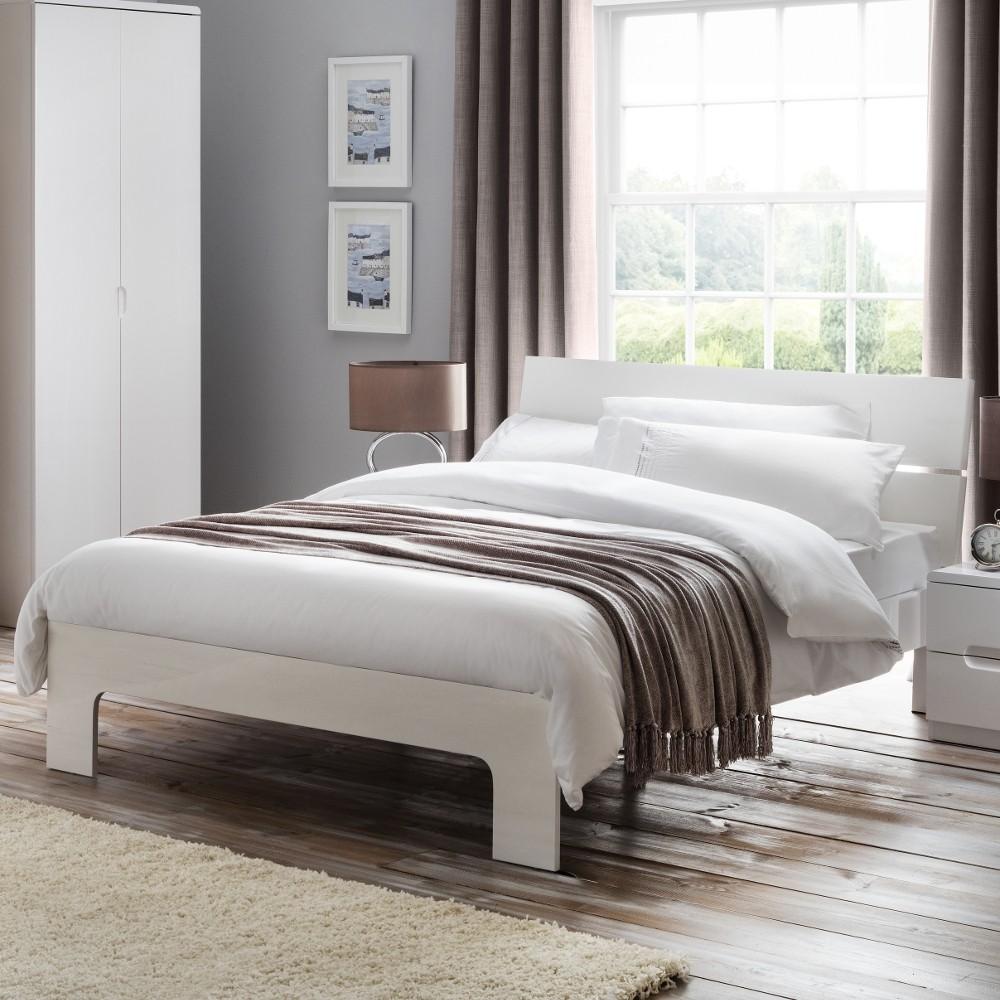 manhattan white gloss wooden bed. Black Bedroom Furniture Sets. Home Design Ideas