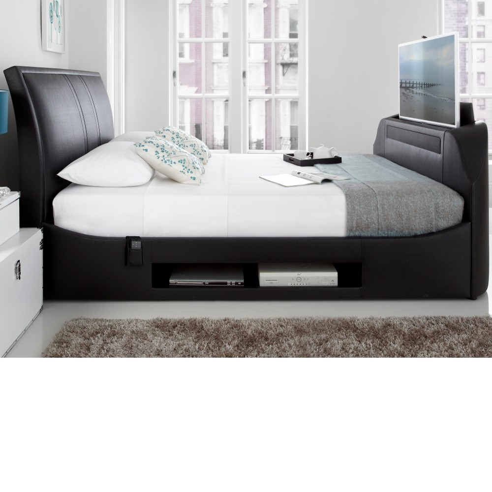 Maximus Black Leather Tv Bed Frame With Sound Bar 5ft