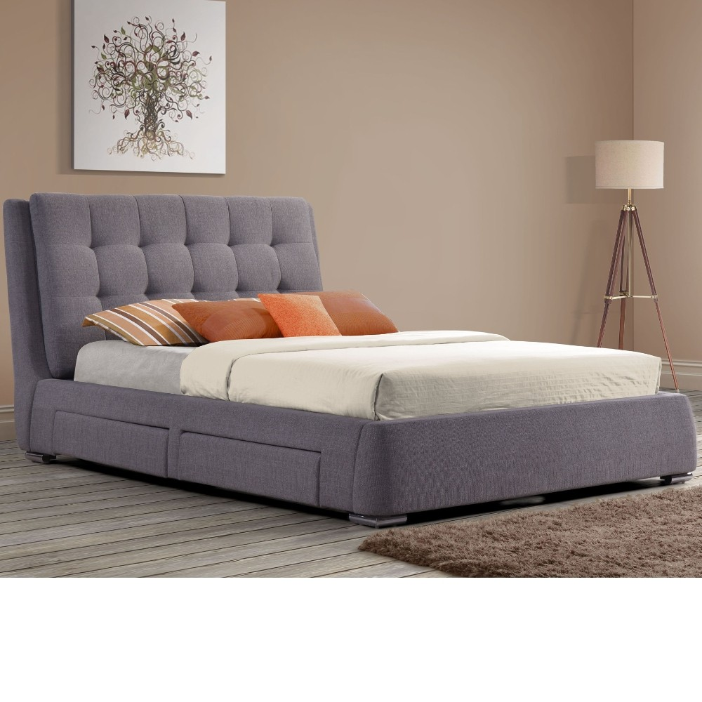 Mayfair grey fabric 4 drawer storage bed frame 5ft king size for King size bed frame and mattress