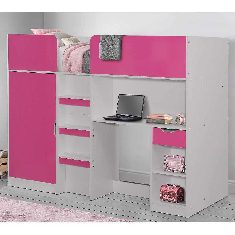 Sleep Science Mattress >> Merlin Pink and White Wooden High Sleeper Storage Bed