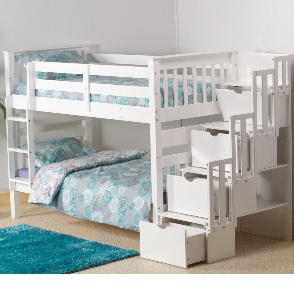Mission White Wooden Staircase Storage Bunk Bed