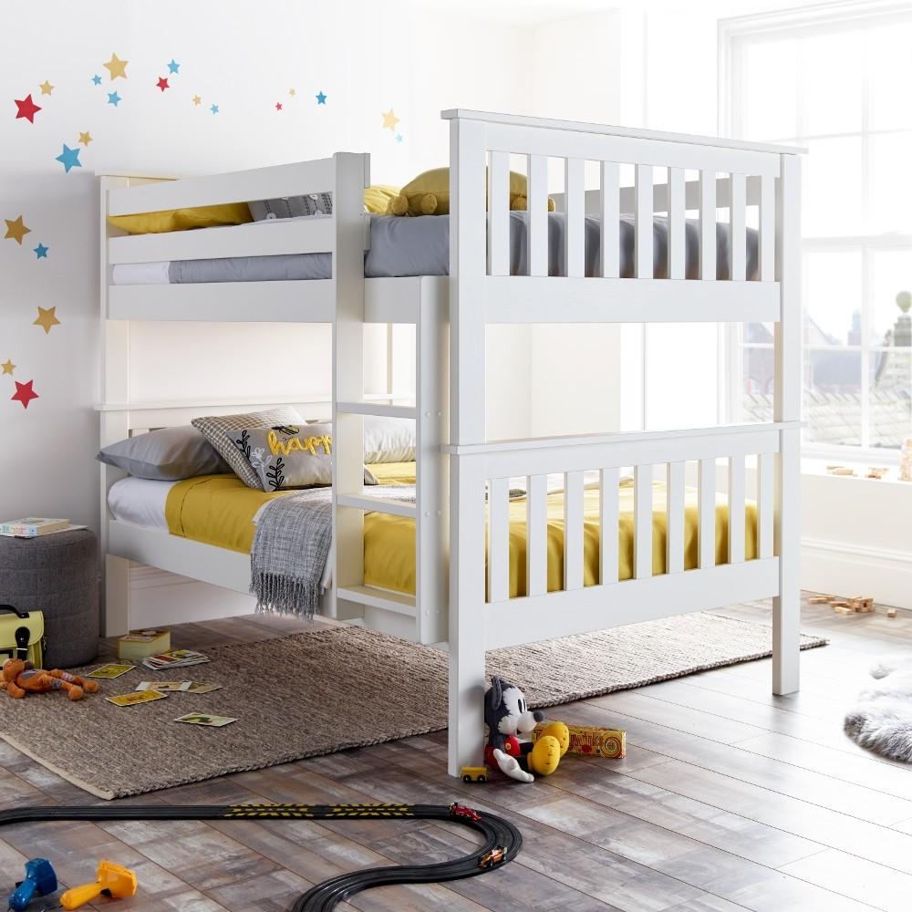 Oslo White Wooden Quadruple Sleeper Bed Frame 4ft Small