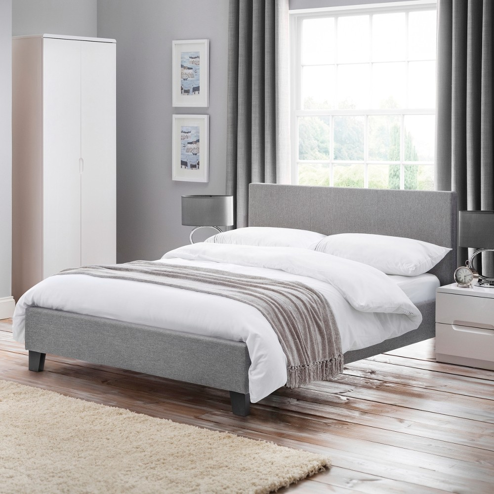 Rialto Light Grey Fabric Bed Frame 4ft6 Double