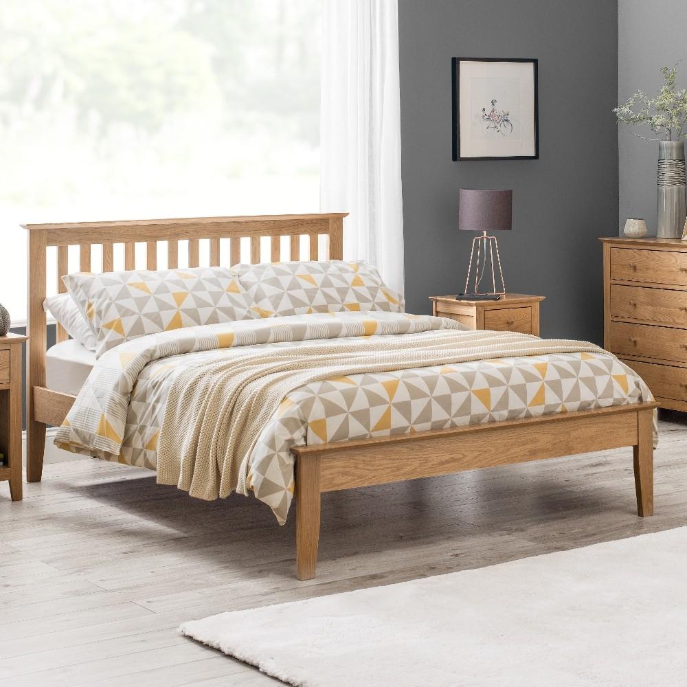 Salerno Oak Finish Wooden Bed
