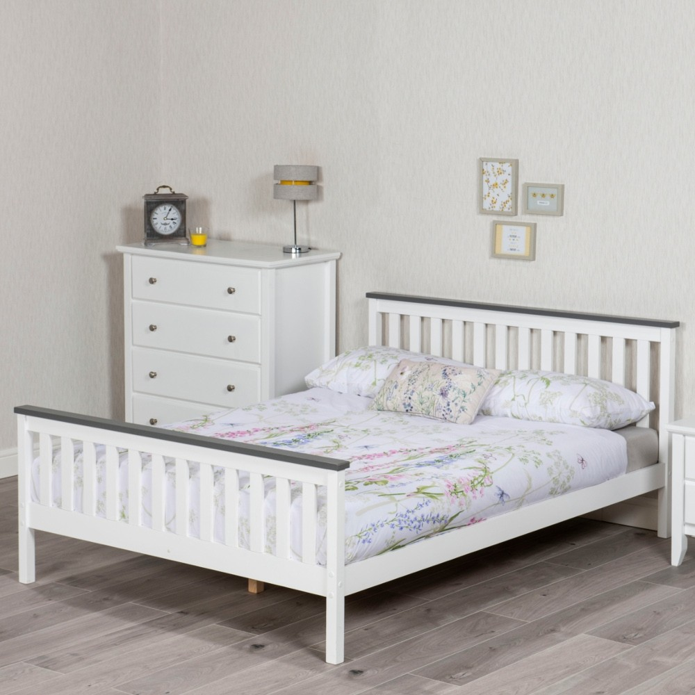 Shanghai White and Grey Wooden Bed Frame Only - 4ft Small ...