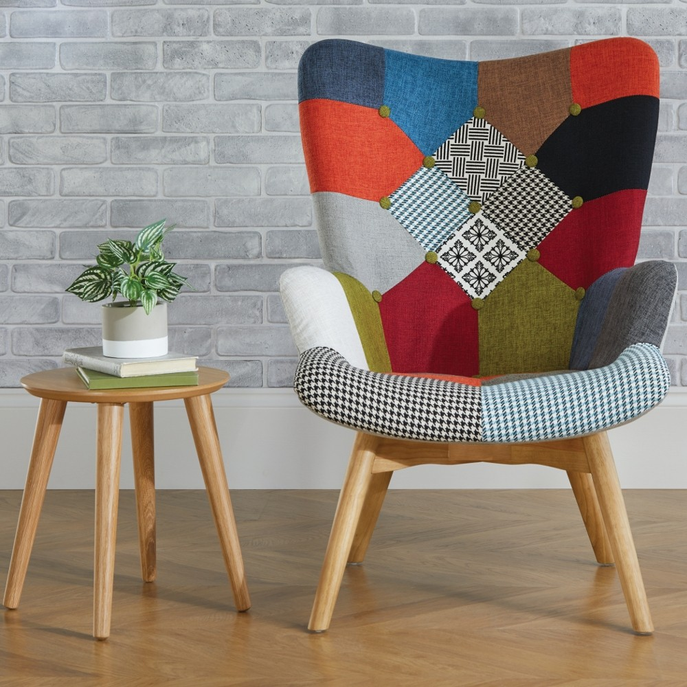 Sloane Multi Coloured Patchwork Fabric Chair