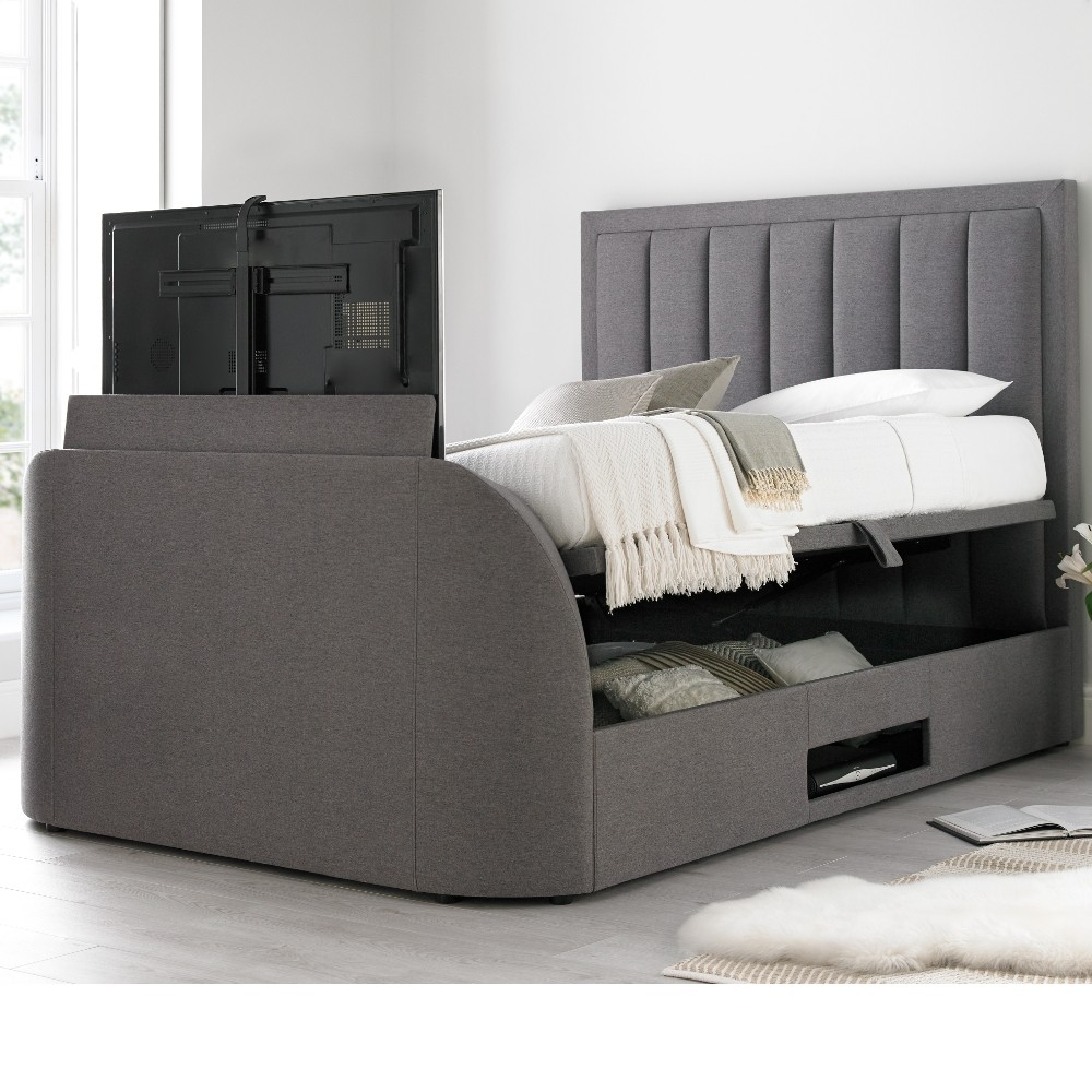 Ventura grey fabric ottoman tv bed for Bed tech 3000