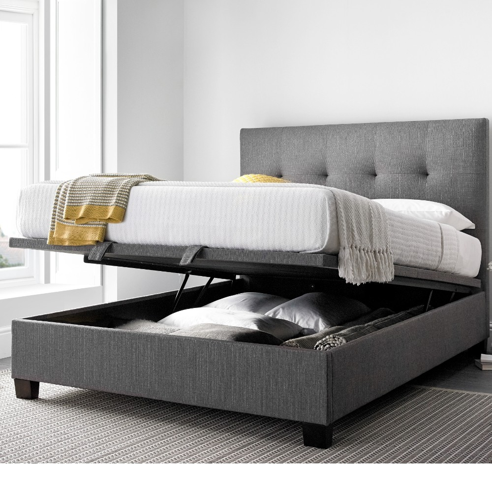 Modern Light Grey Fabric King Bed