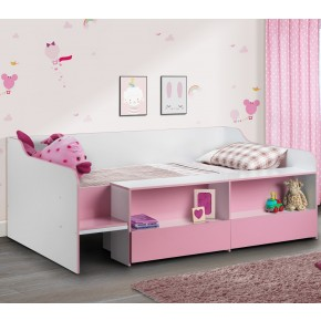 Stella Pink and White Wooden Kids Low Sleeper Cabin Storage Bed
