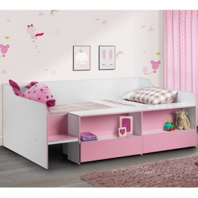 Stella Pink and White Wooden Kids Low Sleeper Cabin Storage Bed