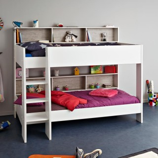 Tam Tam White and Grey Wooden Bunk Bed
