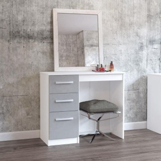 Lynx White and Grey 3 Drawer Dressing Table