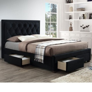 Woodbury Black Fabric 4 Drawer Storage Bed
