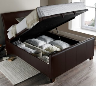 Allendale Brown Faux Leather Ottoman Storage Bed