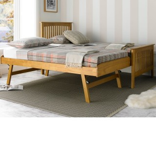 58ef72eac571 Toronto Oak Finish Wooden Guest Bed and Trundle - 3ft Single