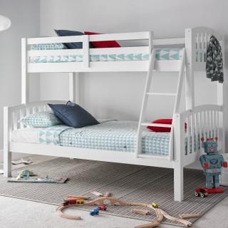 American White Wooden Triple Sleeper Bunk Bed