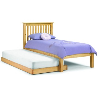 Barcelona Antique Solid Pine Wooden Guest Bed and Trundle - 3ft Single