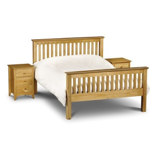 Barcelona High Foot End Antique Solid Pine Wooden Bed