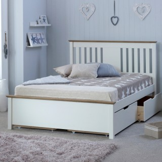 Chester White and Oak Wooden Bed