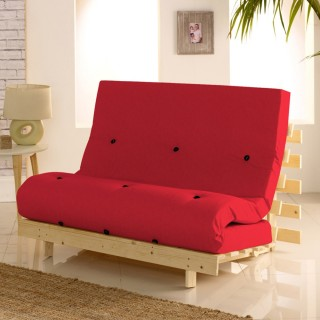Metro Wooden Folding Guest Futon Red Mattress